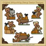 Raggedy Bears Happy Fall Graphics Clip Art Download