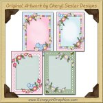 More Pretty Flower Card Frames Sampler Printable Download
