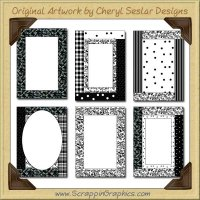 Trendy Black Card Frames Collection Printable Craft Download