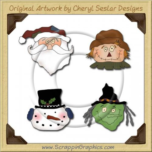 Holiday Faces Collection Graphics Clip Art Download