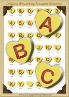 3D Yellow Conversation Hearts Letters & Numbers Clip Art Graphics