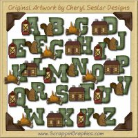 Cabin Alphabet & Numbers Graphics Clip Art Graphics