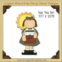 Sun Tea Girl Single Graphics Clip Art Download