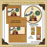 Space Invasion Wrapper Set Printable Craft Collection Graphics C