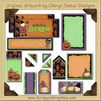 Little Witches Journaling Delights Digital Scrapbooking Graphics Clip Art Download