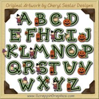 Little Witches Alphabet & Numbers Clip Art Download