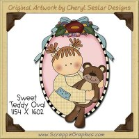 Sweet Teddy Oval Single Clip Art Graphic Download