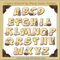At The Beach Alphabet & Numbers Clip Art Graphics