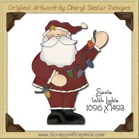 Santa With Lights Single Graphics Clip Art Download