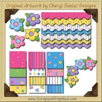 Flower Power Designer Set Graphics Clip Art Download