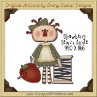 Strawberry Sewin' Annie Single Graphics Clip Art Download