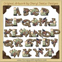 Camo Kids Alphabet & Numbers Clip Art Download