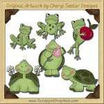 Turtles & Frogs Collection Graphics Clip Art Download