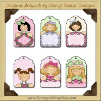 Bow Girl Tags Collection Printable Craft Download