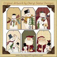 Folk Art Christmas Tags Two Collection Printable Craft Download
