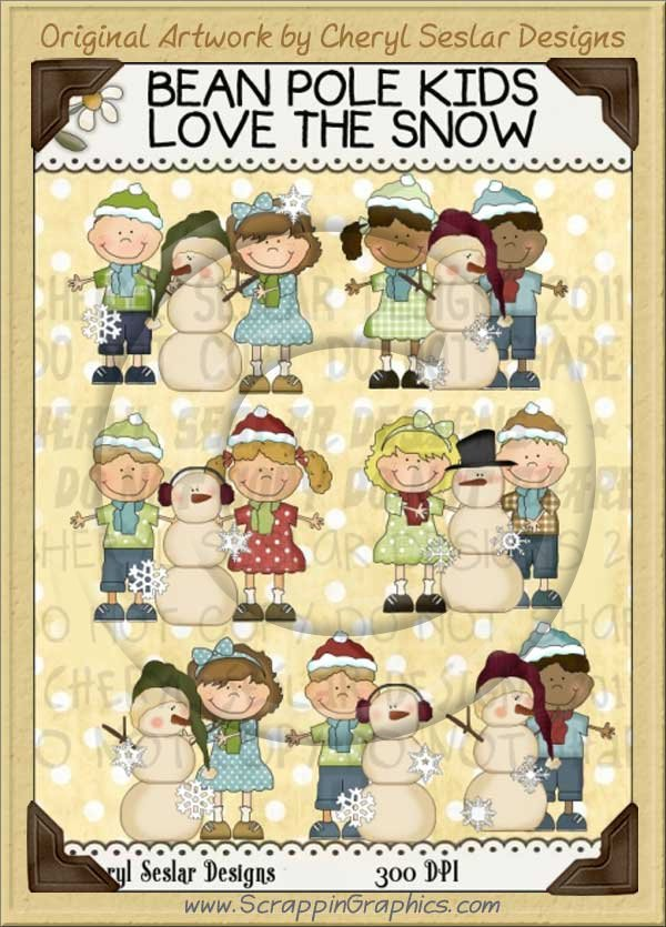 Bean Pole Kids Love The Snow Limited Pro Clip Art Graphics - Click Image to Close