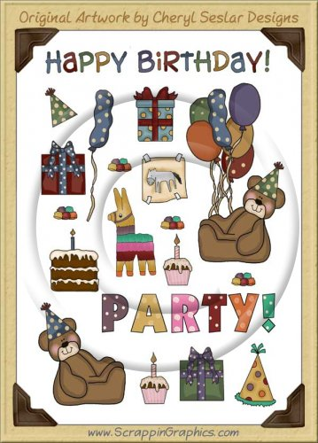 Reseller -Happy Birthday Sticker Page Clip Art Graphics