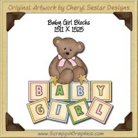 Baby Girl Blocks Single Graphics Clip Art Download