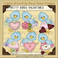 Pretty Bird Valentines Limited Pro Clip Art Graphics