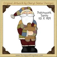 Patchwork Santa Single Clip Art Graphic Download