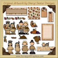 Thanksgiving Friends Journaling Delights Digital Scrapbooking Graphics Clip Art Download