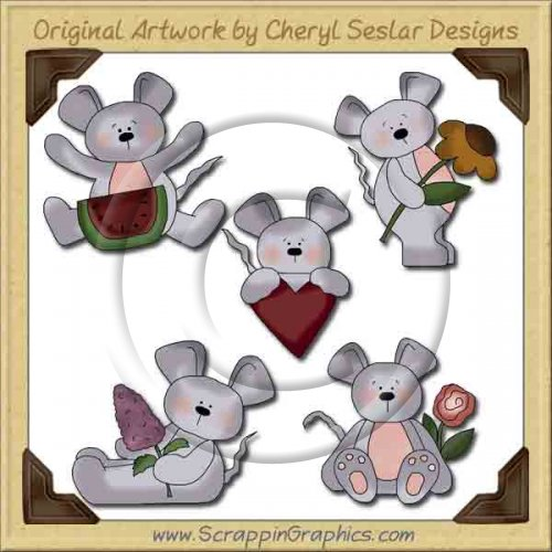 Sweet Little Mice Collection Graphics Clip Art Download