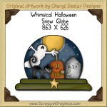 Whimsical Halloween Snow Globe Single Graphics Clip Art Download
