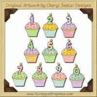 Reseller - Birthday Cupcakes Graphics Clip Art Download