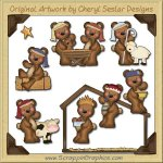 Raggedy Bears Nativity Graphics Clip Art Download