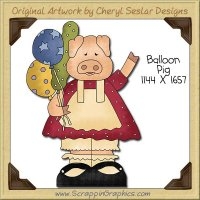 Balloon Pig Single Clip Art Graphic Download