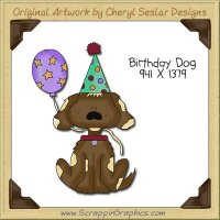 Birthday Dog Single Clip Art Graphic Download