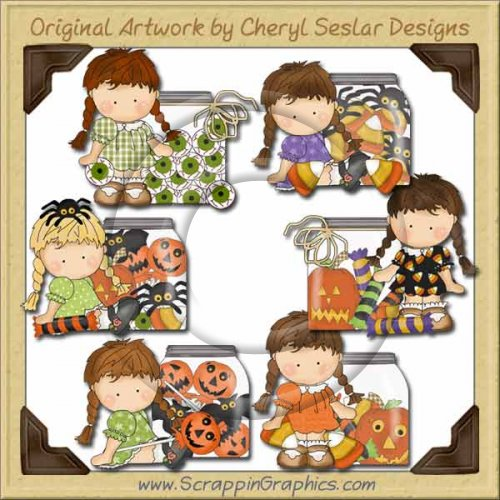 Agnus Halloween Jars Clip Art Download
