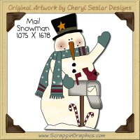Mail Snowman Single Clip Art Graphic Download
