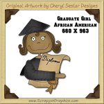 African American Graduate Girl Single Graphics Clip Art Download