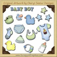 Baby Boy Elements Collection Graphics Clip Art Download