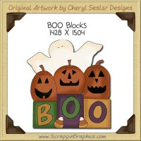 BOO Blocks Single Clip Art Graphic Download