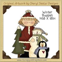 Winter Buddies Single Clip Art Graphic Download