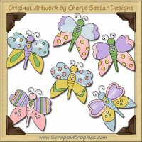 Pastel Butterflies Collection Graphics Clip Art Download