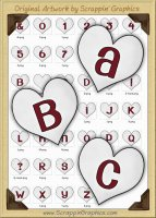 White Candy Hearts Letters & Numbers Clip Art Graphics