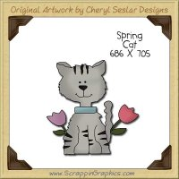 Spring Cat Single Clip Art Graphic Download
