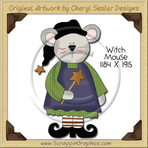 Witch Mouse Single Clip Art Graphic Download
