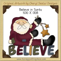 Believe In Santa Single Clip Art Graphic Download