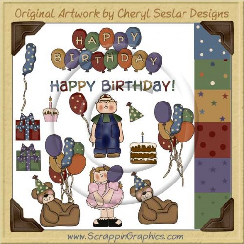 Birthday Bash First Birthday Clip Art Download