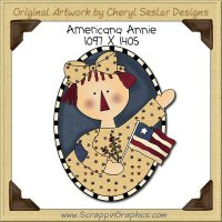 Americana Annie Oval Single Clip Art Graphic Download