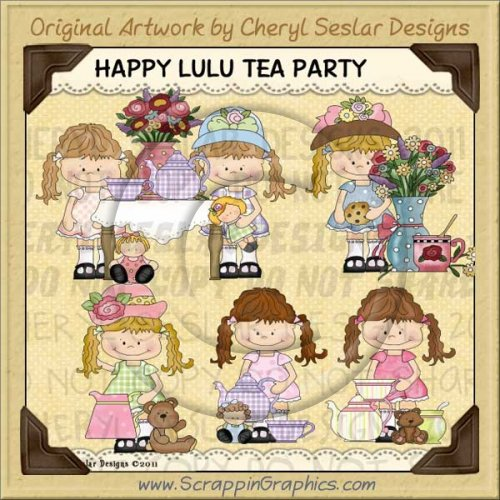 Happy Lulu Tea Party Limited Pro Clip Art Graphics