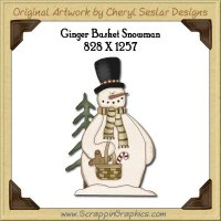 Ginger Basket Snowman Single Graphics Clip Art Download