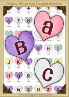 Candy Hearts Letters & Numbers Clip Art Graphics