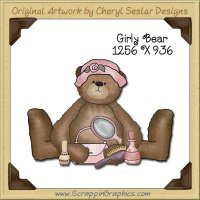 Girly Bear Single Graphics Clip Art Download