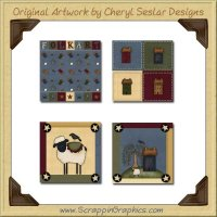 Folk Art Block Collection Graphics Clip Art Download