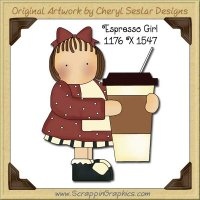 Espresso Girl Single Graphics Clip Art Download